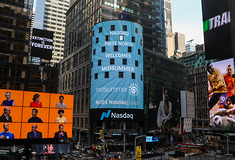 Nasdaq sign at Times Square New York