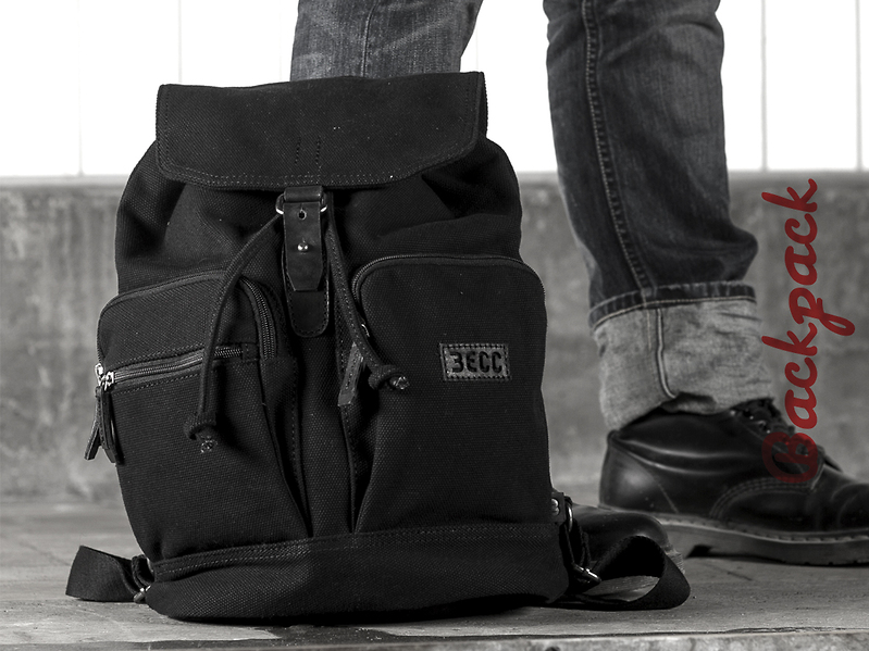 Backpack canvas, close up